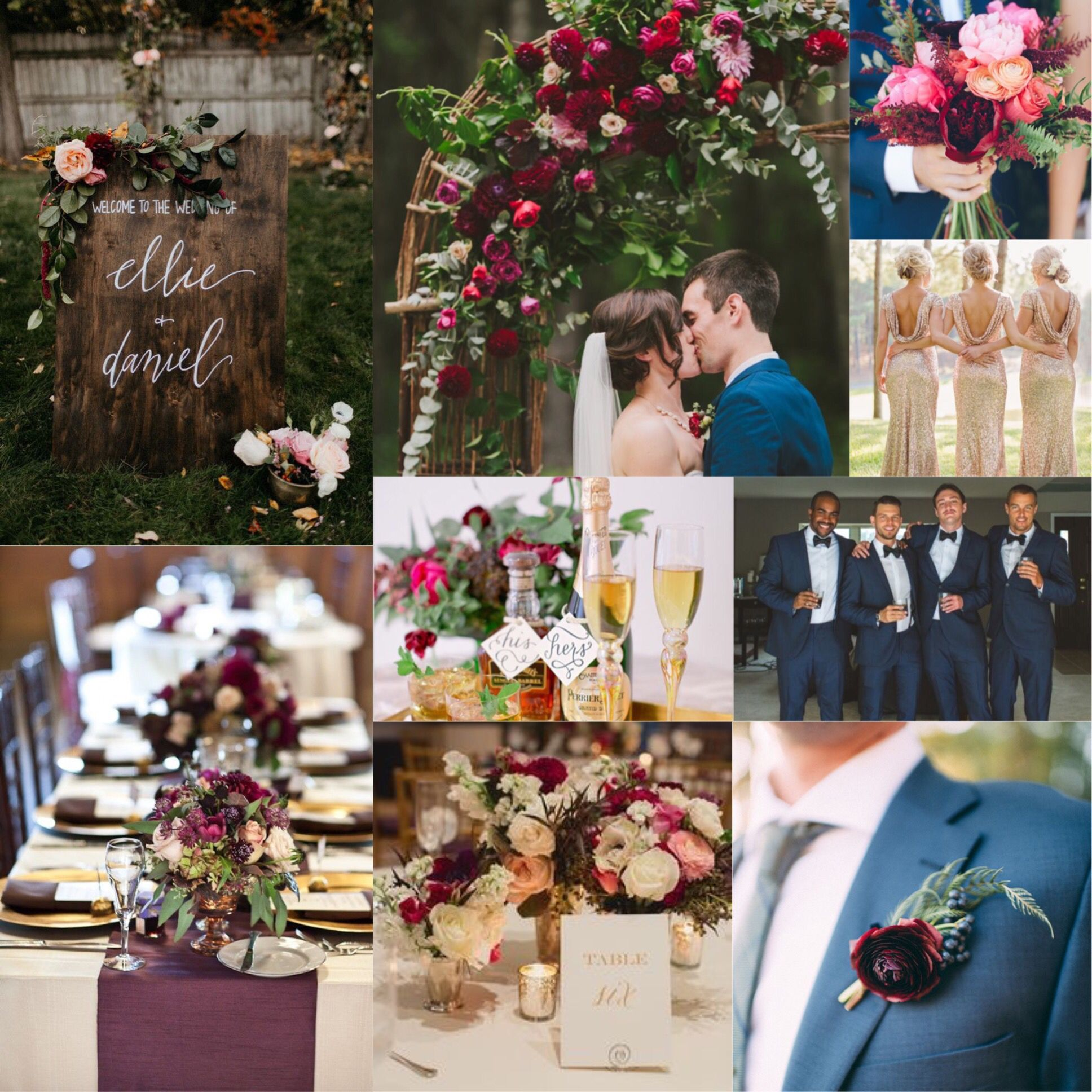Burgundy Plum Champagne And Navy Wedding. Lots Of Greenery