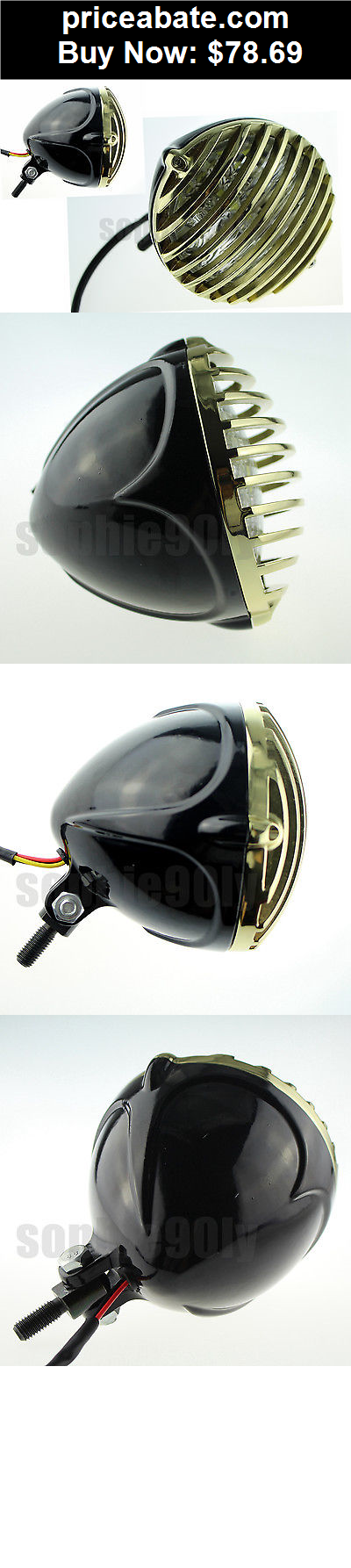 motors-parts-and-accessories: scalloped brass headlight motorcycle