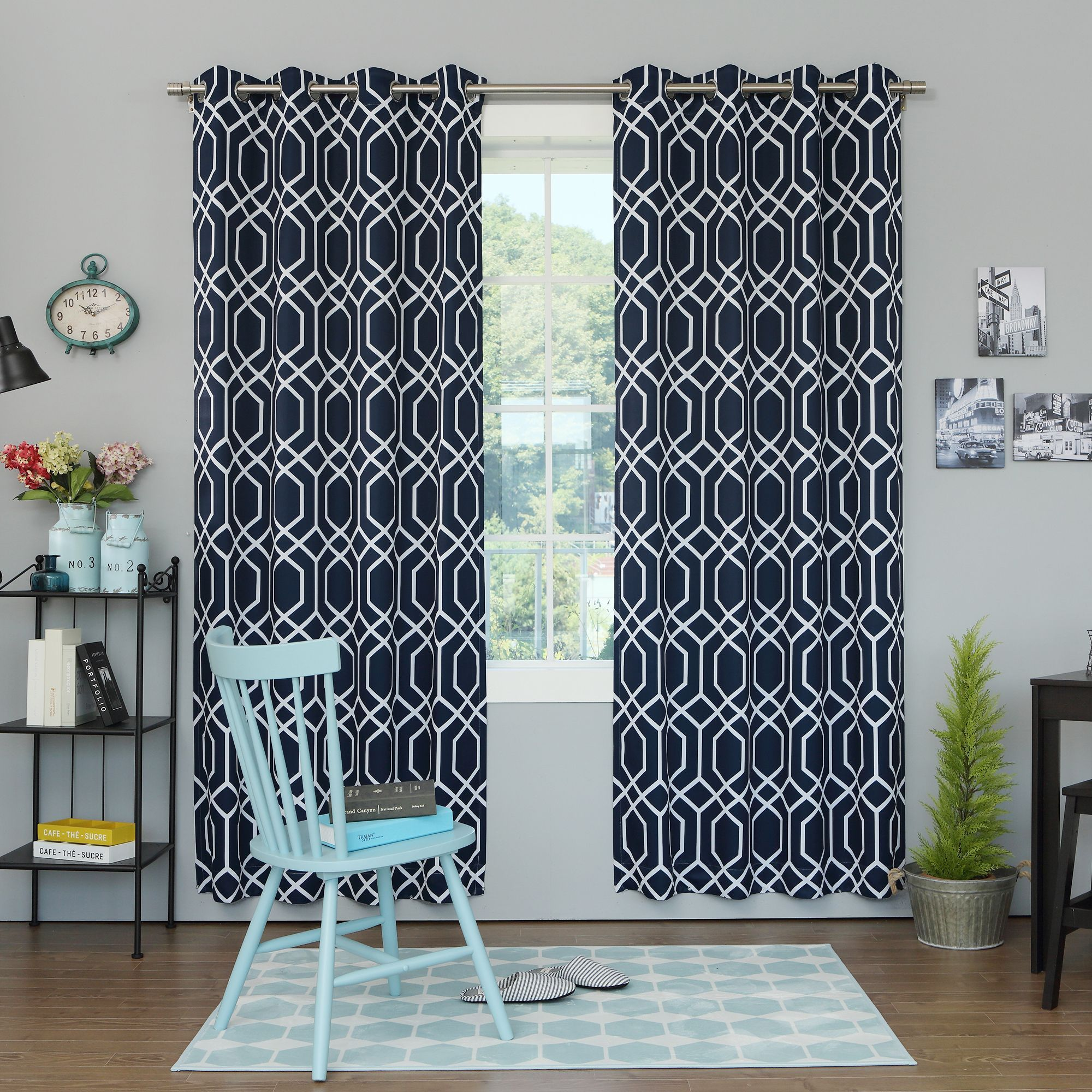Curtain pair overstock shopping great deals on lights out curtains - Shop For Aurora Home Geometric Trellis Printed Room Darkening Curtain Panel Pair Get Free Delivery At Your Online Home Decor Outlet Store