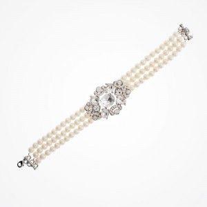 Triple-strand pearl bracelet with crystal embellishment | Denver pearl bracelet | Untamed Petals