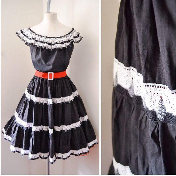 1950s Black Cotton Patio Skirt Top Set 50s Dress S