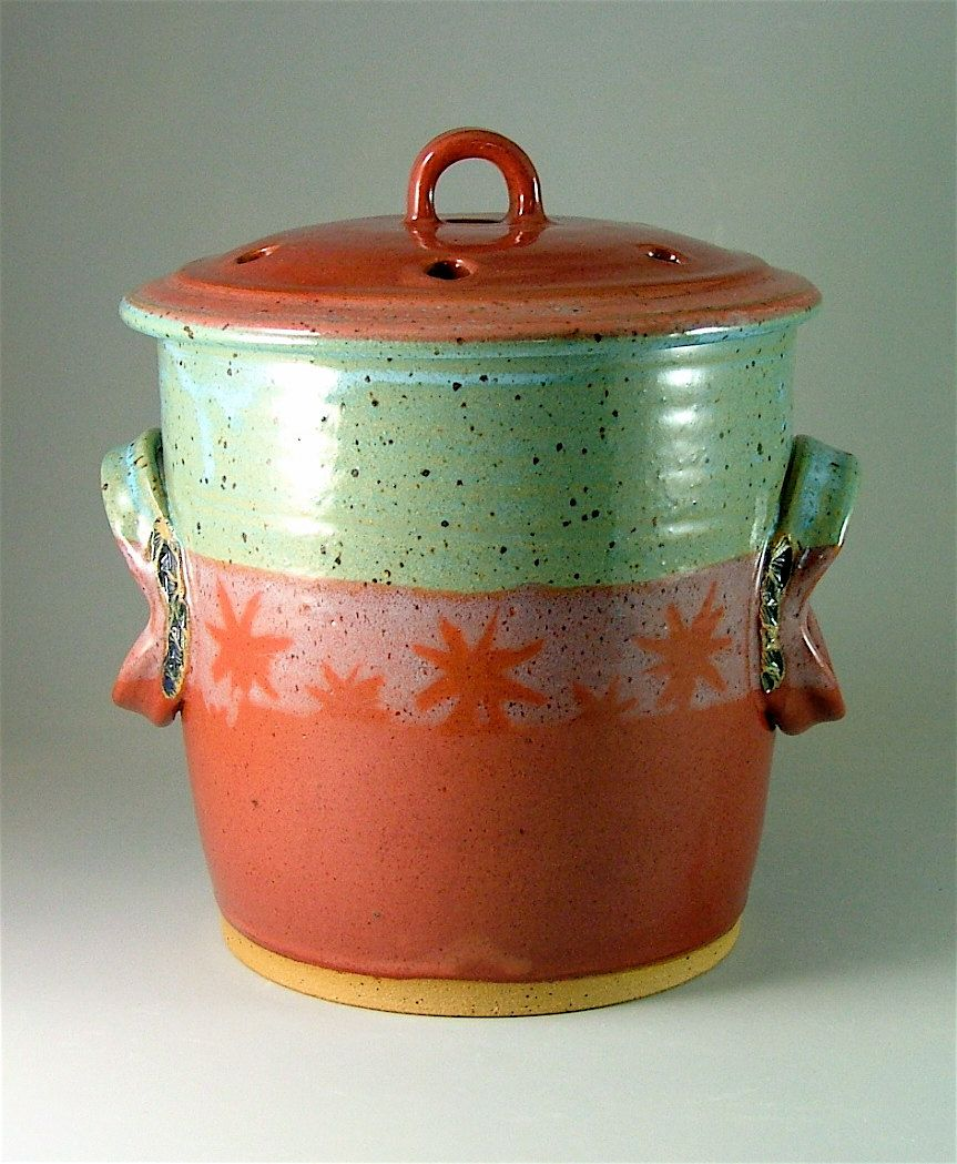 Pottery Compost Pot   Red And Speckled Turquoise With Stars / Kitchen  Counter Top Compost / Veggie Scrap Container