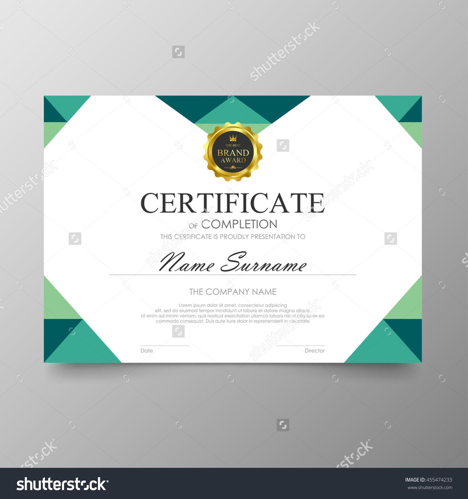 green certificate template awards diploma background vector modern