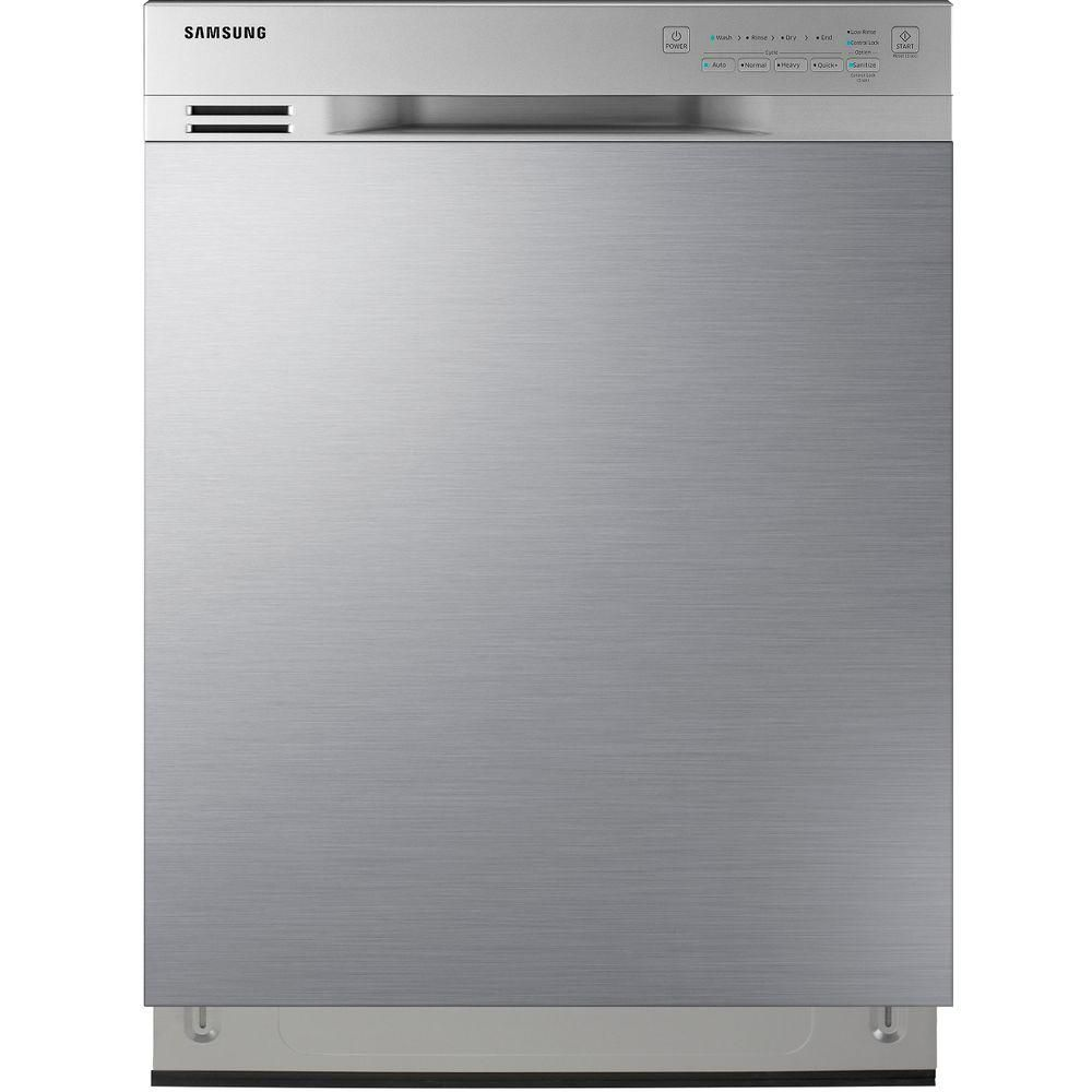 Samsung 24 In Front Control Dishwasher In Stainless Steel With Stainless Steel Tub 50 Dba Dw80j3020us The Home Depot Steel Tub Samsung Dishwasher Stainless Kitchen