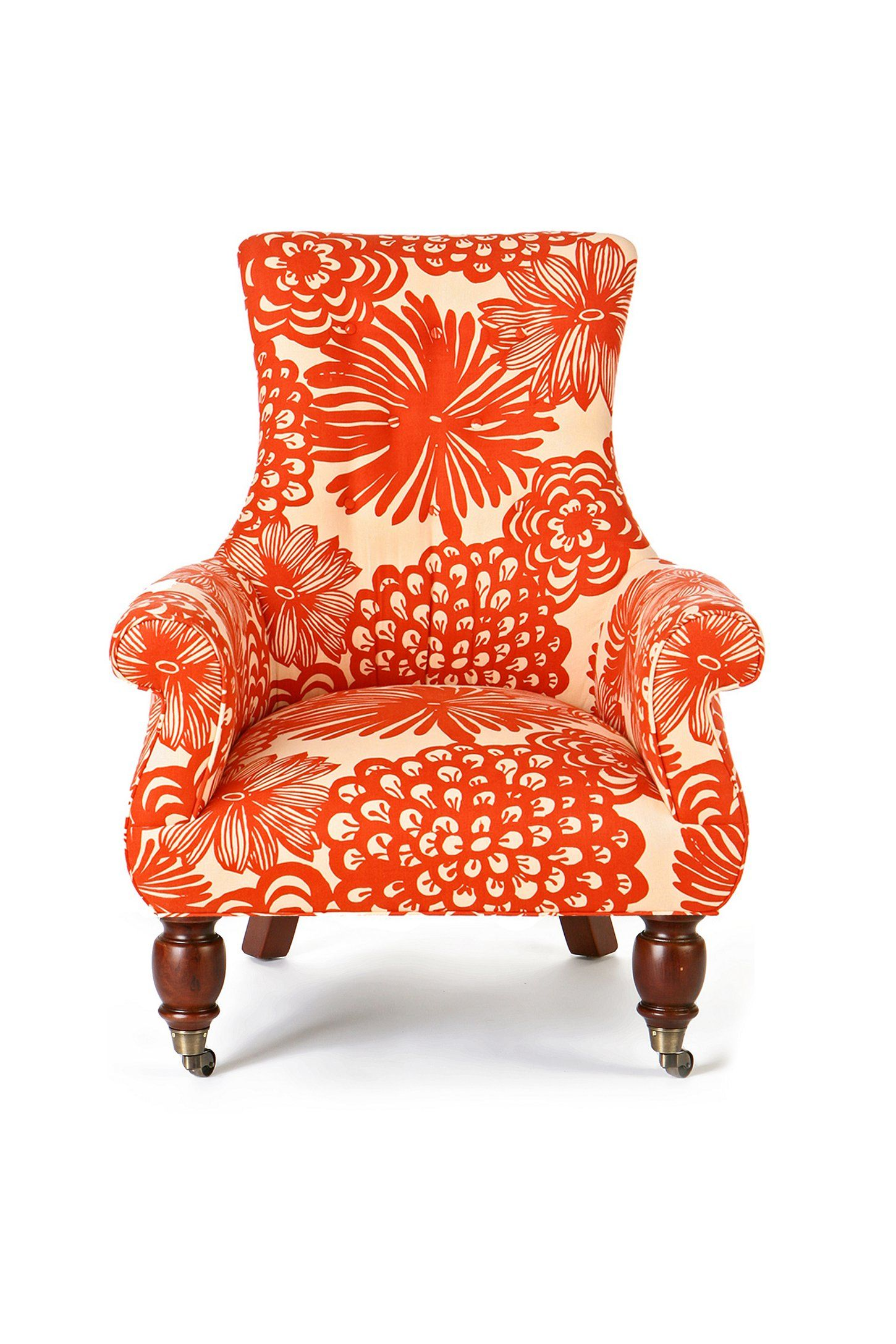 Coral Print Accent Chair