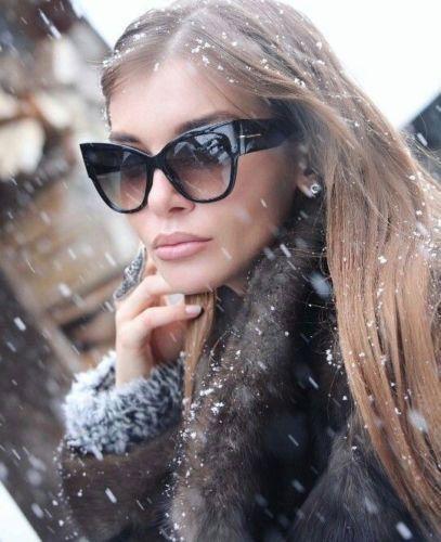 7cc56e20295 Large Oversized Cat Eye Thick Frame Gradient Black Brown Anoushka  Sunglasses Tom Ford Sunglasses