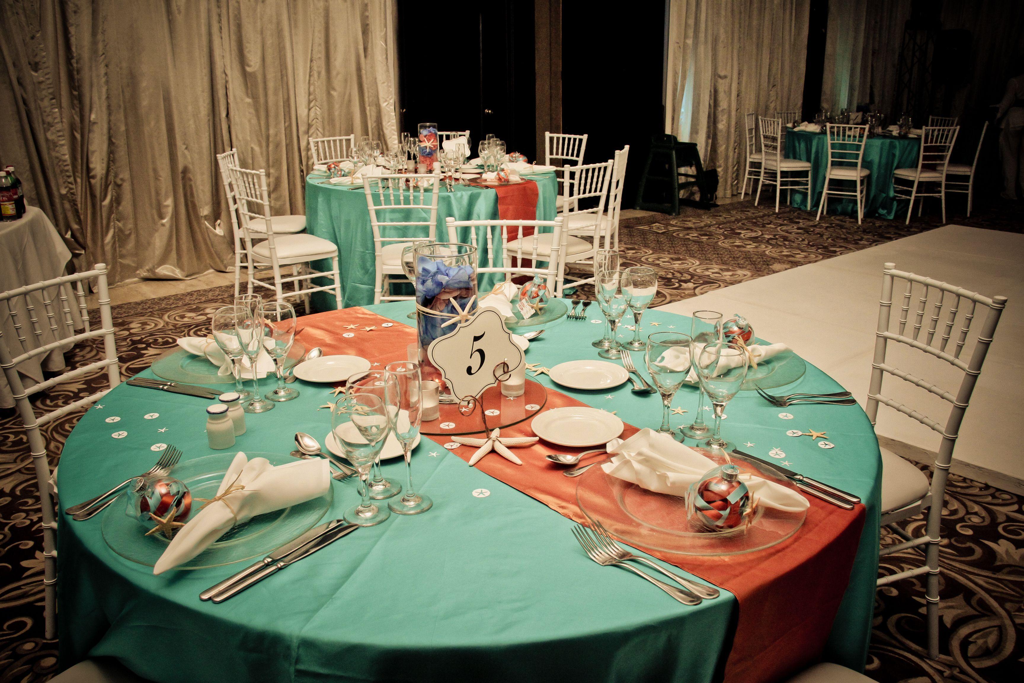 Beach Wedding Setup Aqua And Coral Color Theme Centerpieces Get