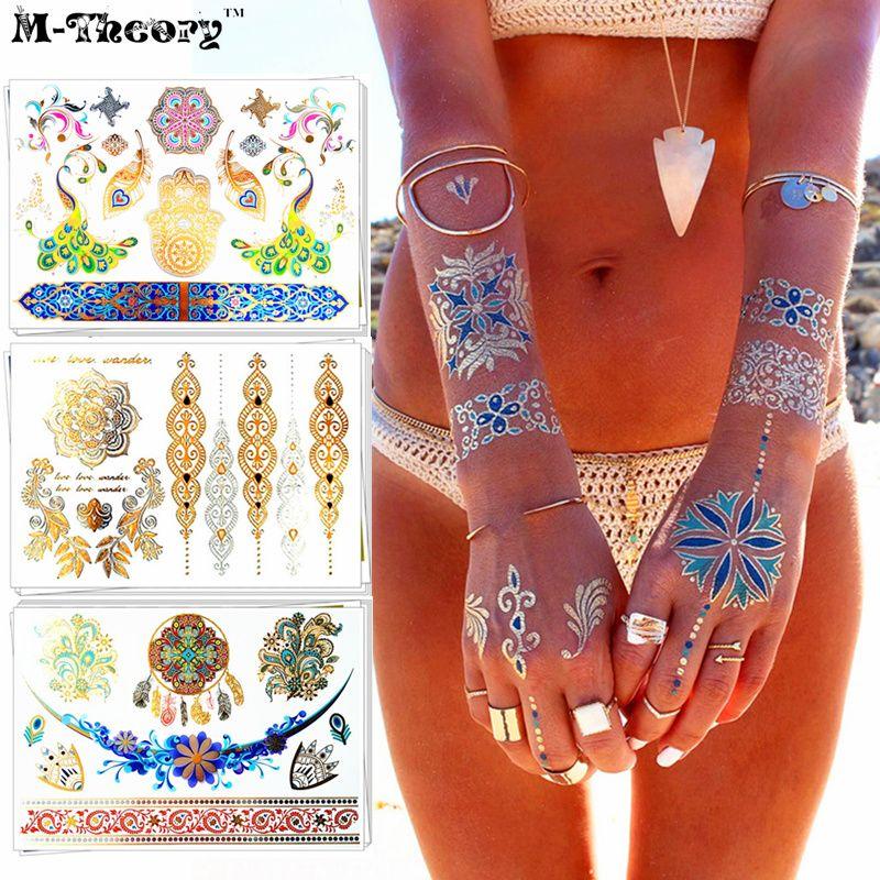 153feb7ff M-Theory 3D Metallic Henna Temporary Tattoo Sticker Waterproof Gold Flash  Tattoos Body Art 21*15cm Tatoo Body Choker Makeup Tool