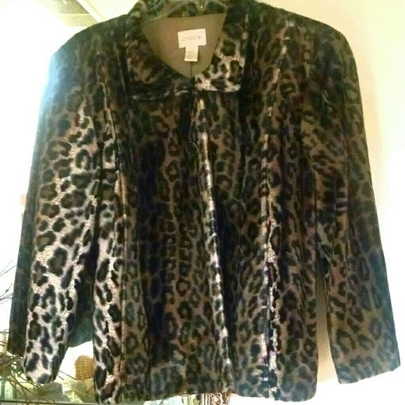 Chico's faux leopard fur jacket Chico's jacket in plush faux fur in a gorgeous leopard print.  Two button closure just below the collar.  This jacket has princess seaming on the front and yoke tailoring on the back so even though it technically hangs open below the buttons it has a more tailored or fitted appearance.  In absolute perfect condition! Worn just once for a limited time.  A Chico's 2, this will fit sizes 8 - a small 12, perhaps smaller depending on shoulder width.  Please ask if…