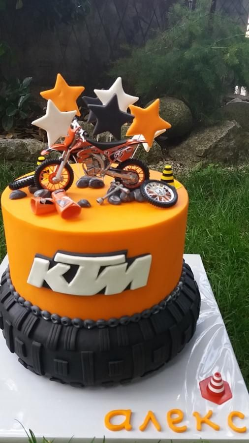 Cool Ktm Cakes By Silviq Ilieva Motorcycle Birthday Cakes Motorcross Funny Birthday Cards Online Alyptdamsfinfo