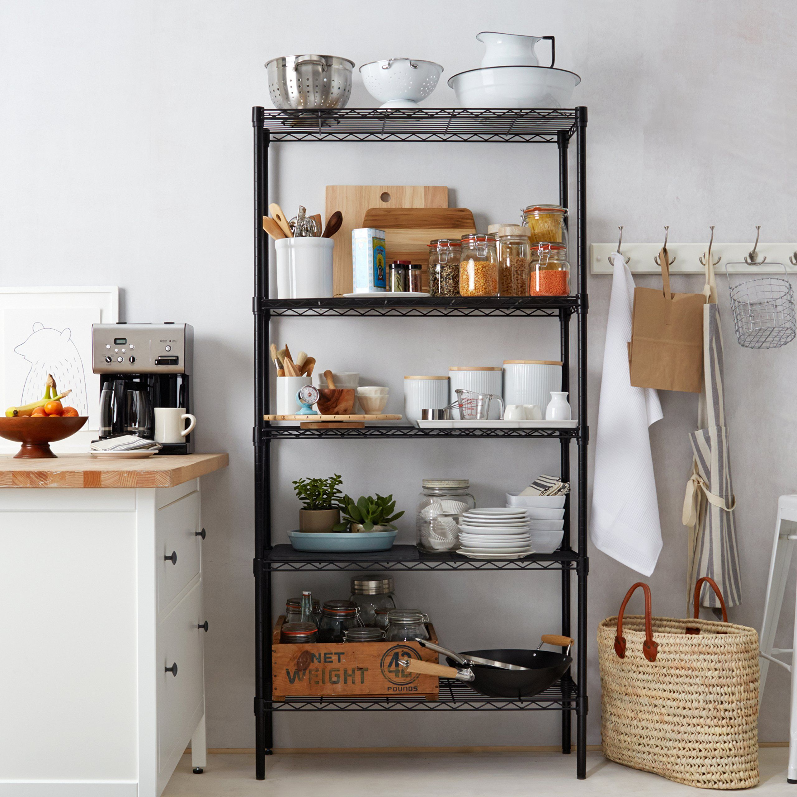 cute idea to replace white shelves in kitchen