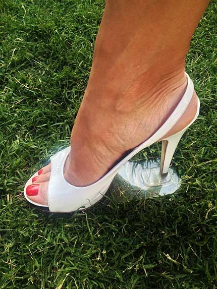 5d8c6cecd9e9 Grasswalkers www.grasswalkers.com 100% Transparent removable strips that  adhere to the bottom of your favorite high heels to keep them from sinking  into the ...
