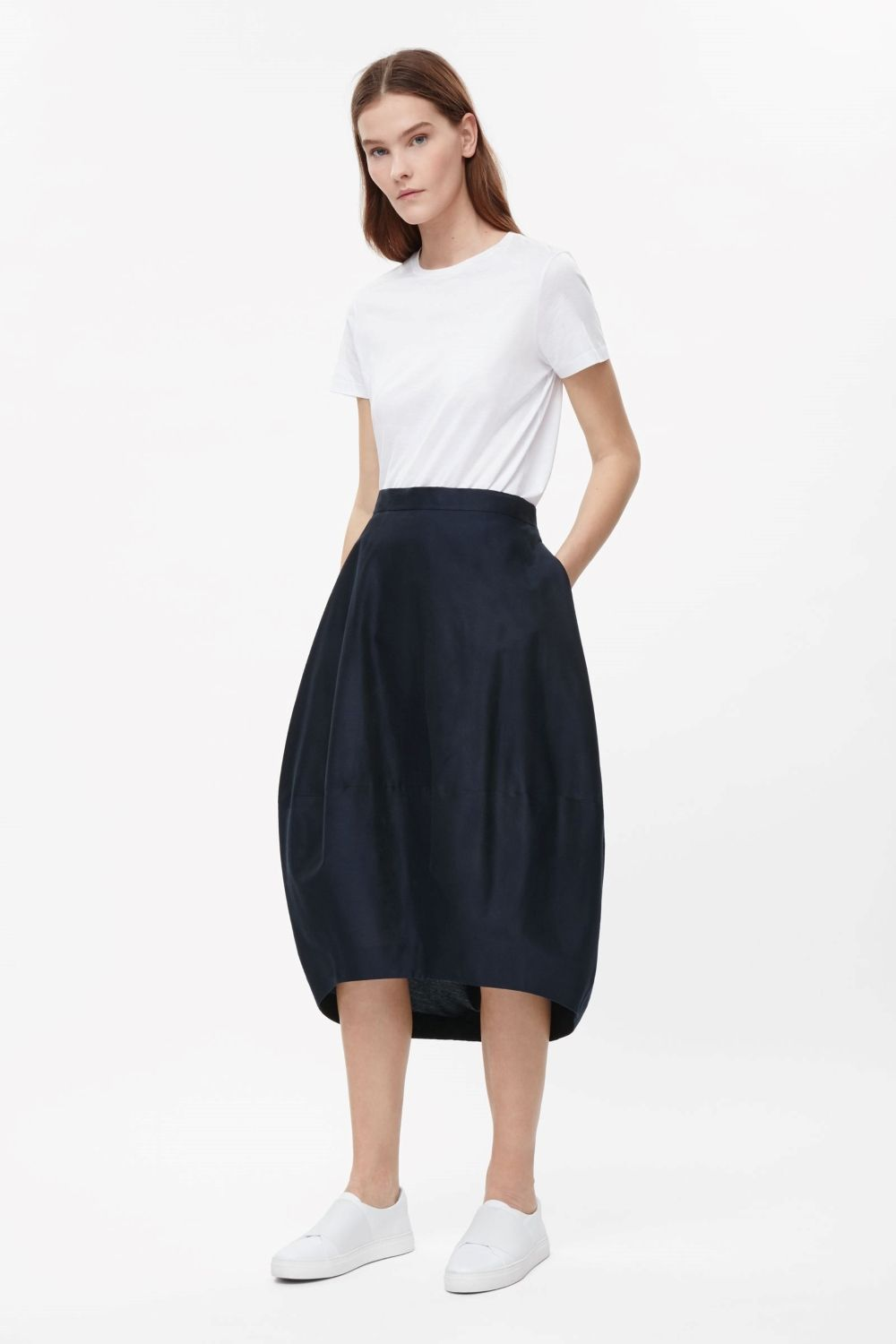 a21d659f5a This rounded cocoon skirt is made from a blend of silk and cotton with a  fine…