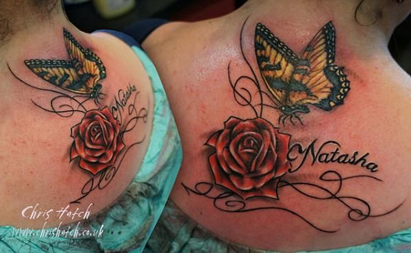 Rose, Name and Butterfly Tattoo - 50  Amazing Butterfly Tattoo Designs  <3 <3