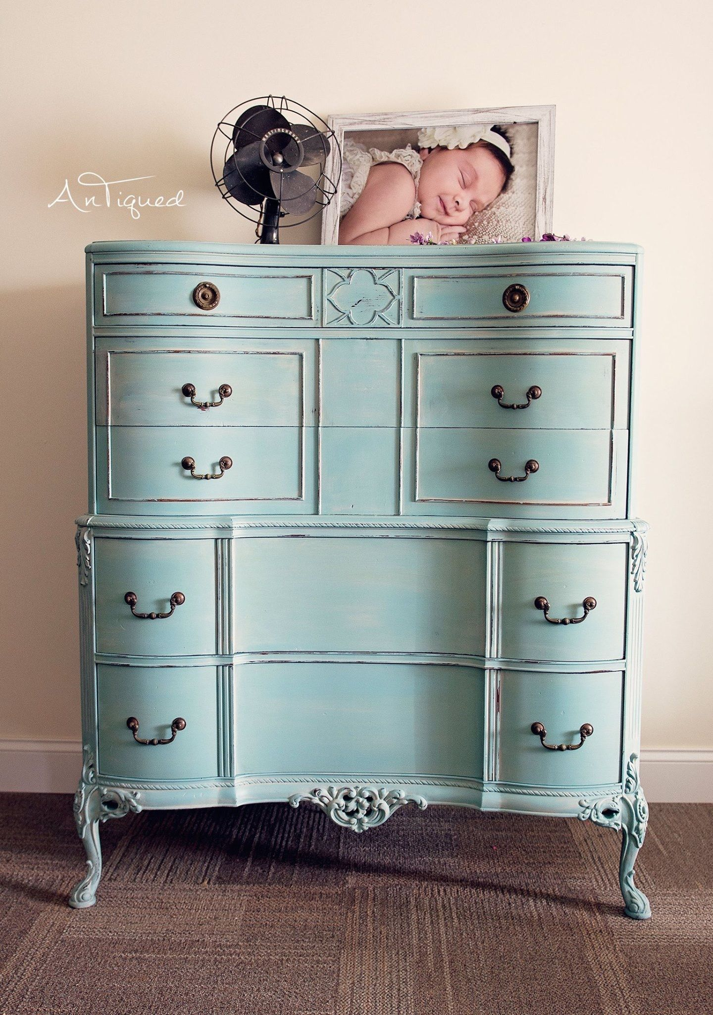 Blue Painted Chest Of Drawers With White Wash Washed Furniture
