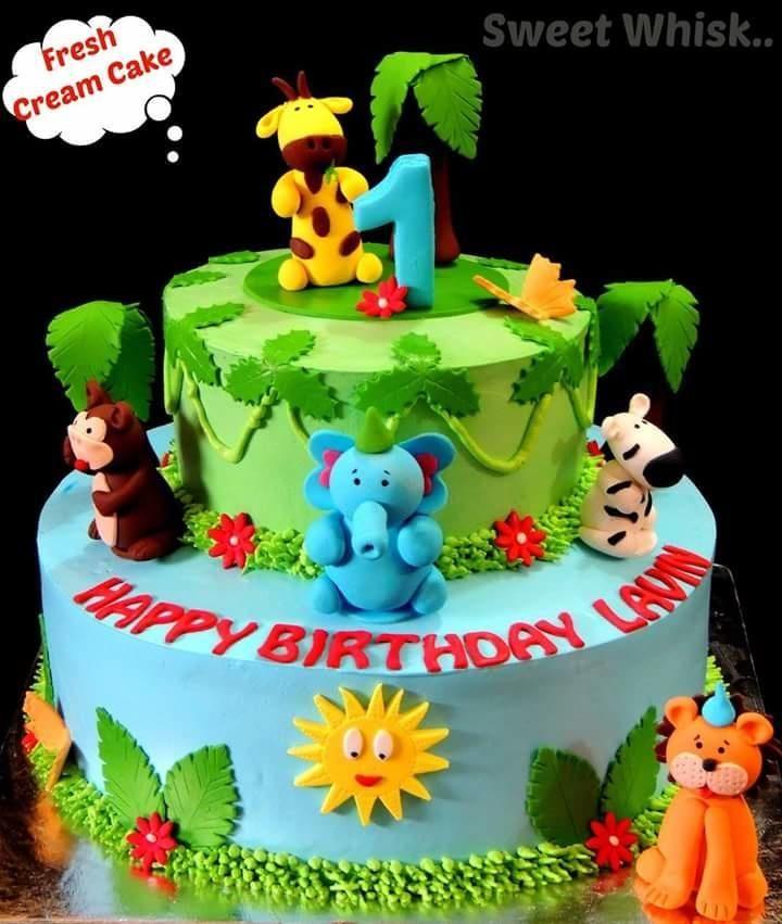 Tremendous Animal Zoo Whipped Cream Cake Cake By Karen Con Imagenes Funny Birthday Cards Online Amentibdeldamsfinfo