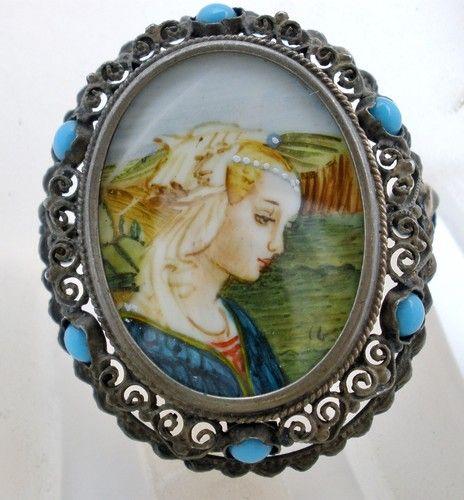 Miniature Portrait Pendant Brooch Antique Hand Painted Lady Turquoise Silver | eBay