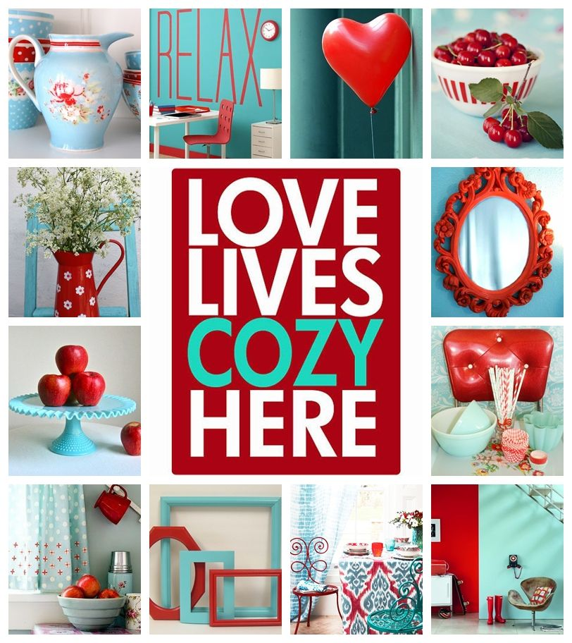 Moodboard Aqua And Red By At Teal Kitchen Decor Teal Kitchen