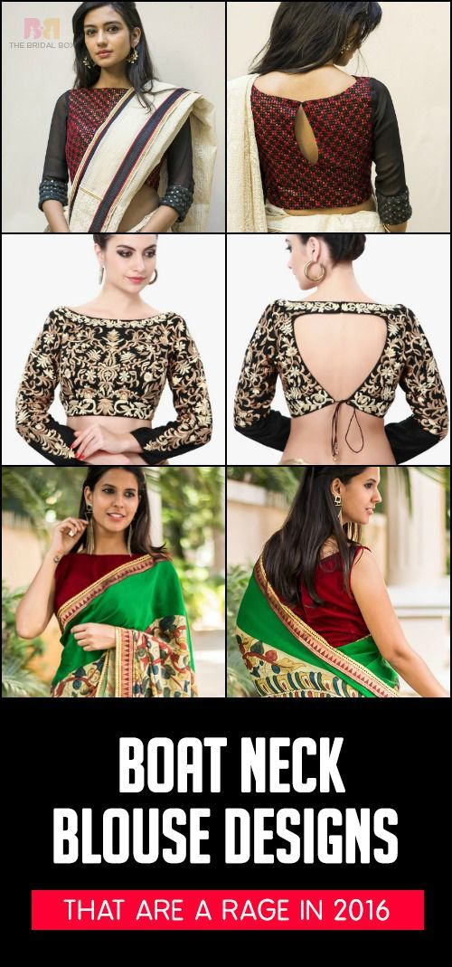 Boat Neck Blouse Designs: 15 Latest Blouses Are The Rage In 2017 #blousedesignslatest 15 Latest Boat Neck Blouse Designs That Are A Rage In 2016 #blousedesignslatest