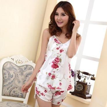 b41287114a Women's Sexy Floral Sleepwear Braces Shirts + Shorts Underwear Pajamas  Robes Setintotham