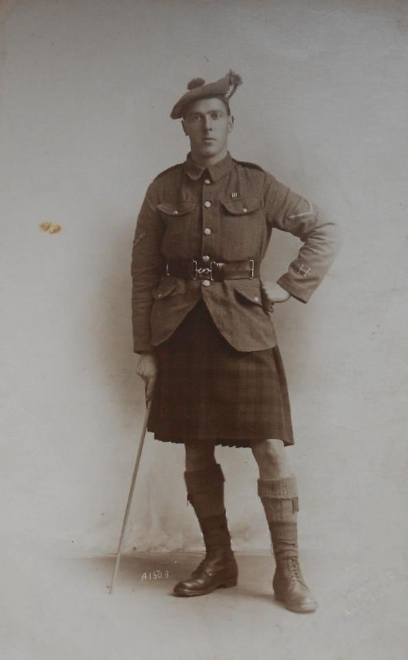 L/Cpl in the Gordon Highlanders. He has won the military medal as you can tell by the pattern of the medal ribbon worn above his left tunic pocket. He has also been wounded twice in action, this can be seen by the 2 brass wound stripes worn above the left tunic cuff.