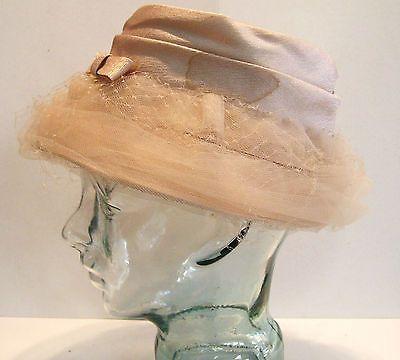 Vintage Summer Hat Beige with Net - Toronto Fashion Original Canada