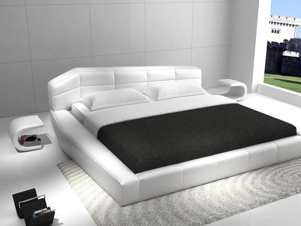 Rishon King Size Modern Design White Leather Platform Bed Ebay