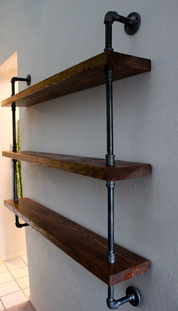 wood shelving unit wall shelf industrial shelves rustic home decor d co maison max. Black Bedroom Furniture Sets. Home Design Ideas