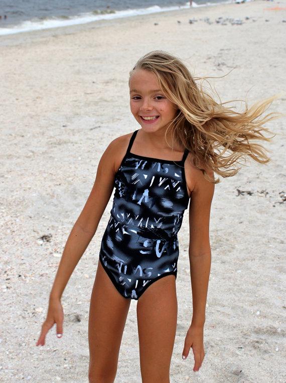 Swim Print Blackwhitegray Racerback Swimsuit  Racerback -3177
