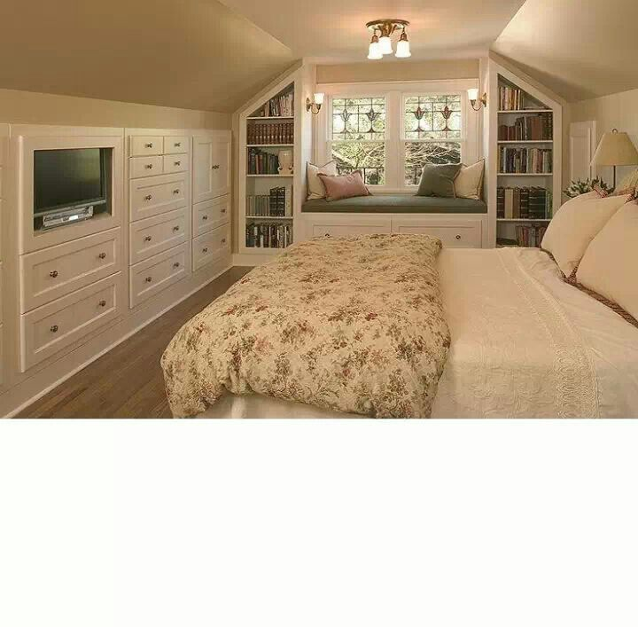 Bedroom With Slanted Ceiling Pink Black And White Bedroom Designs Bedroom Furniture Trends 2017 Bedroom Colour Schemes Purple: Built-in Drawers For Room Over Garage
