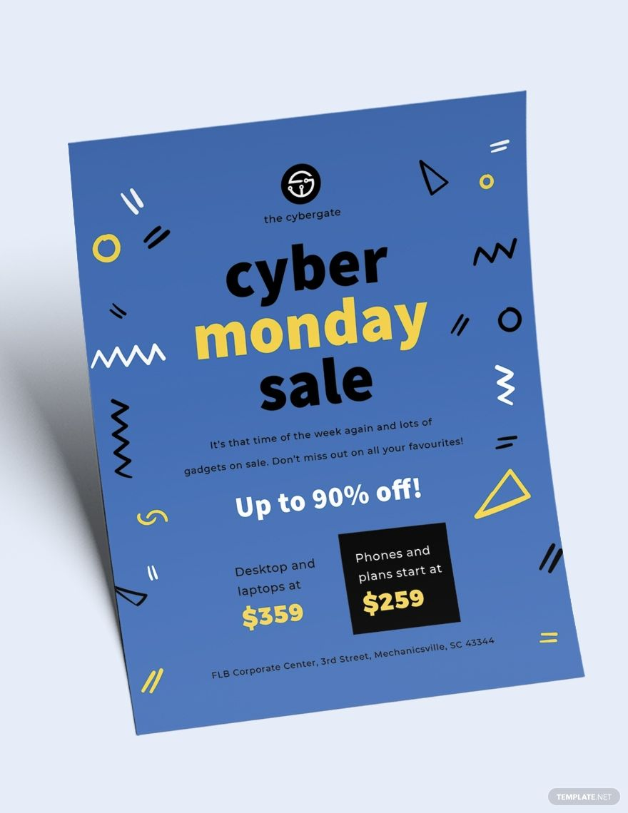 Free Cyber Monday Sales Flyer Ad Ad Cyber Free Monday Flyer Sales In 2020 Cyber Sale Flyer Cyber Monday