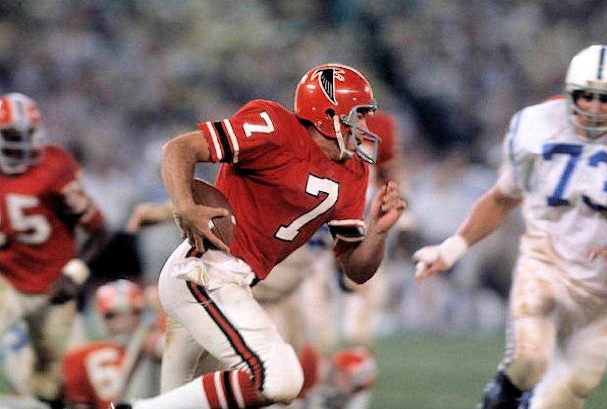 Falcons Qb Pat Sullivan 1973 Baltimore Vs Atlanta Nfl Uniforms Nfl History Football Cheerleaders