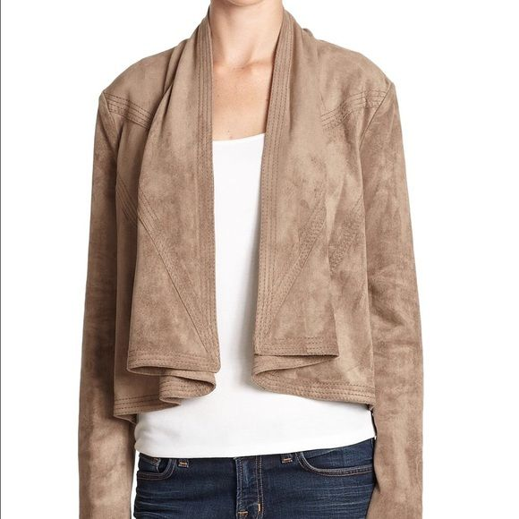 BCBG Max Azria mocha faux suede drape jacket sz XS BCBG Maxaria   Retail: $237   Style: faux suede drape jacket doesn't feel faux - very good quality   Size: XS - I am able to fit this just fine, I am 5'7 120lbs 34DD, and have fairly long arms and wide shoulders.   Condition: Pre-owned gently wore, light wear,nothing excessive, no stains or holes. BCBGMaxAzria Jackets & Coats Blazers