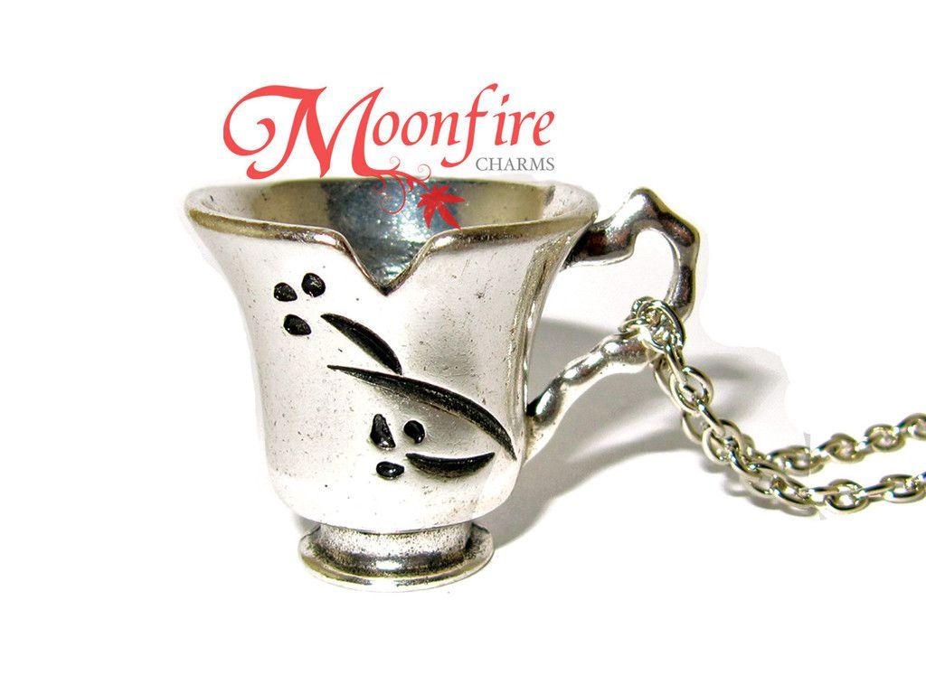 Once Upon A Time Rumpelstiltskin Bella Chipped Tea Cup Pendant Necklace