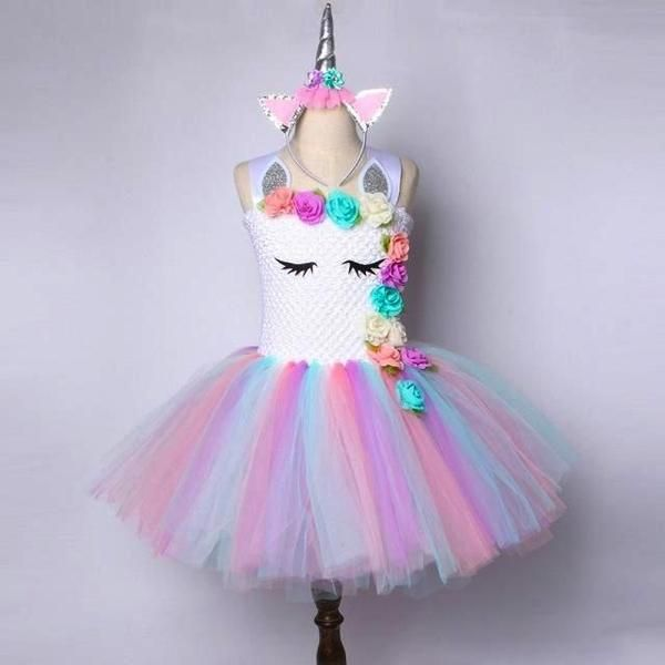 Unicorn Tutu Dress Themes Silver Girl Unicorn Costume