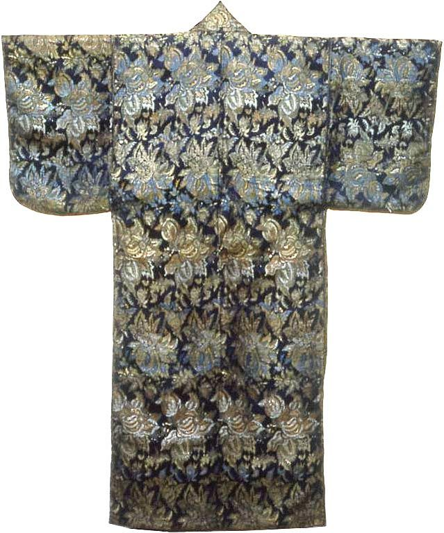 Kosode, Late Edo period (1789–1868), late 18th century Silk and gold-leaf-over-lacquered-paper strips, warp-float faced twill weave with weft float faced twill interlacings of secondary binding warps and supplementary patterning wefts; interlined with cotton, plain weave (64 x 52 in.). The Art Institute of Chicago