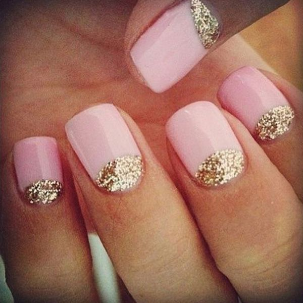 50 Easy Nail Designs Art And Design Gold Glitter Nails Pastel Nails Designs Pink Nails