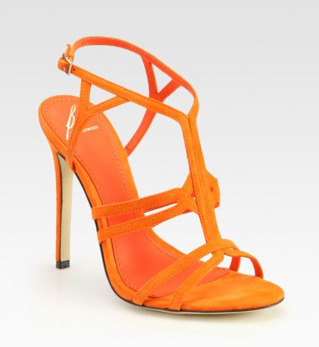 Women's Orange Florrina Suede High-heel Sandals | Brian atwood ...