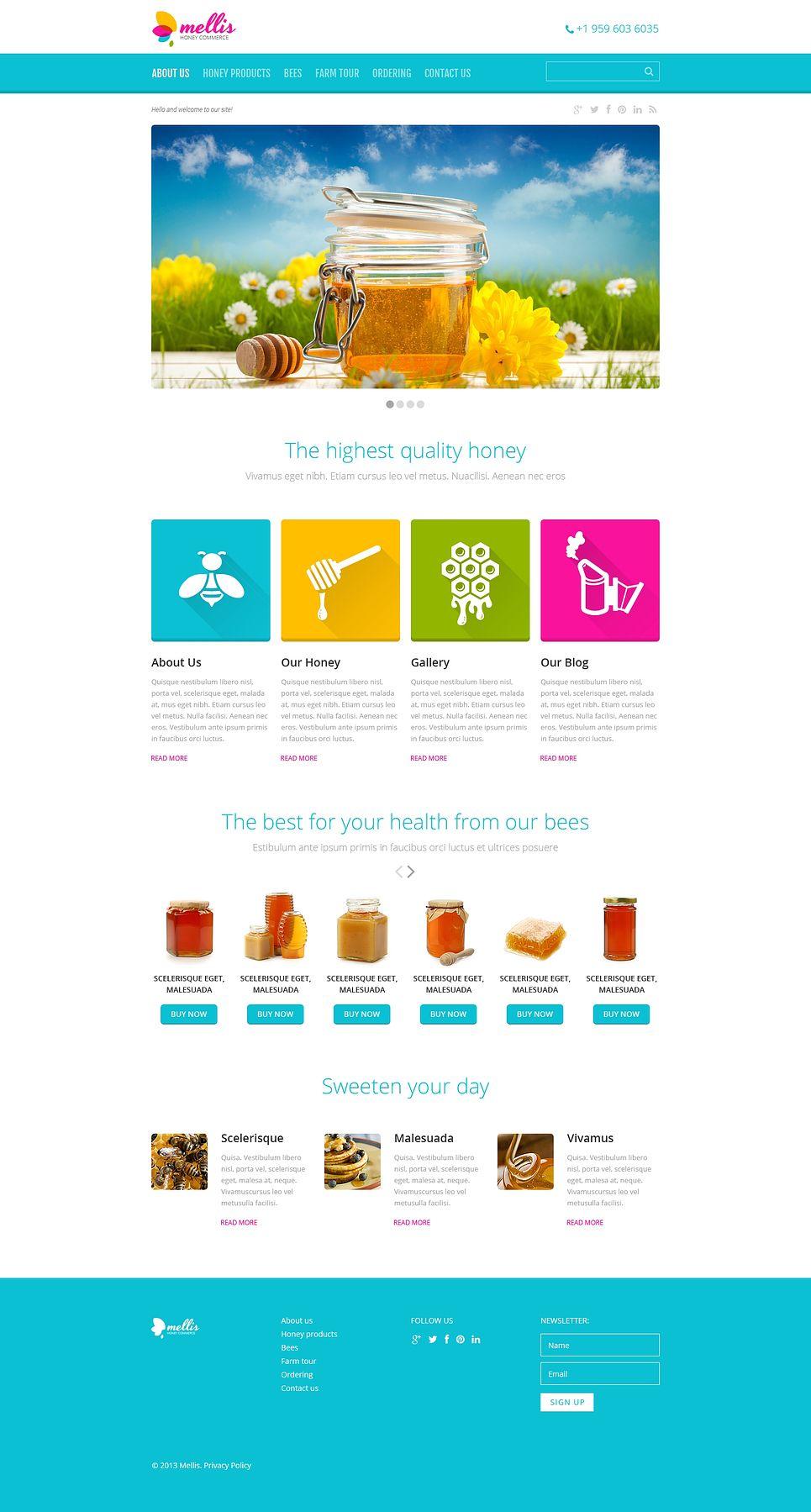 Honey Store Responsive Website Template 46562 Honey Store Wordpress Theme Responsive Website Template