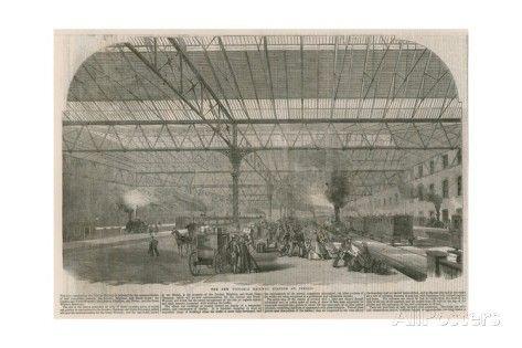 LONDON The New Victoria Railway Station at Pimlico Antique Print 1861