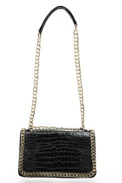 Eva Mock Croc Chain Detail Cross Body At Boohoo Crossbody Shoulder Bag