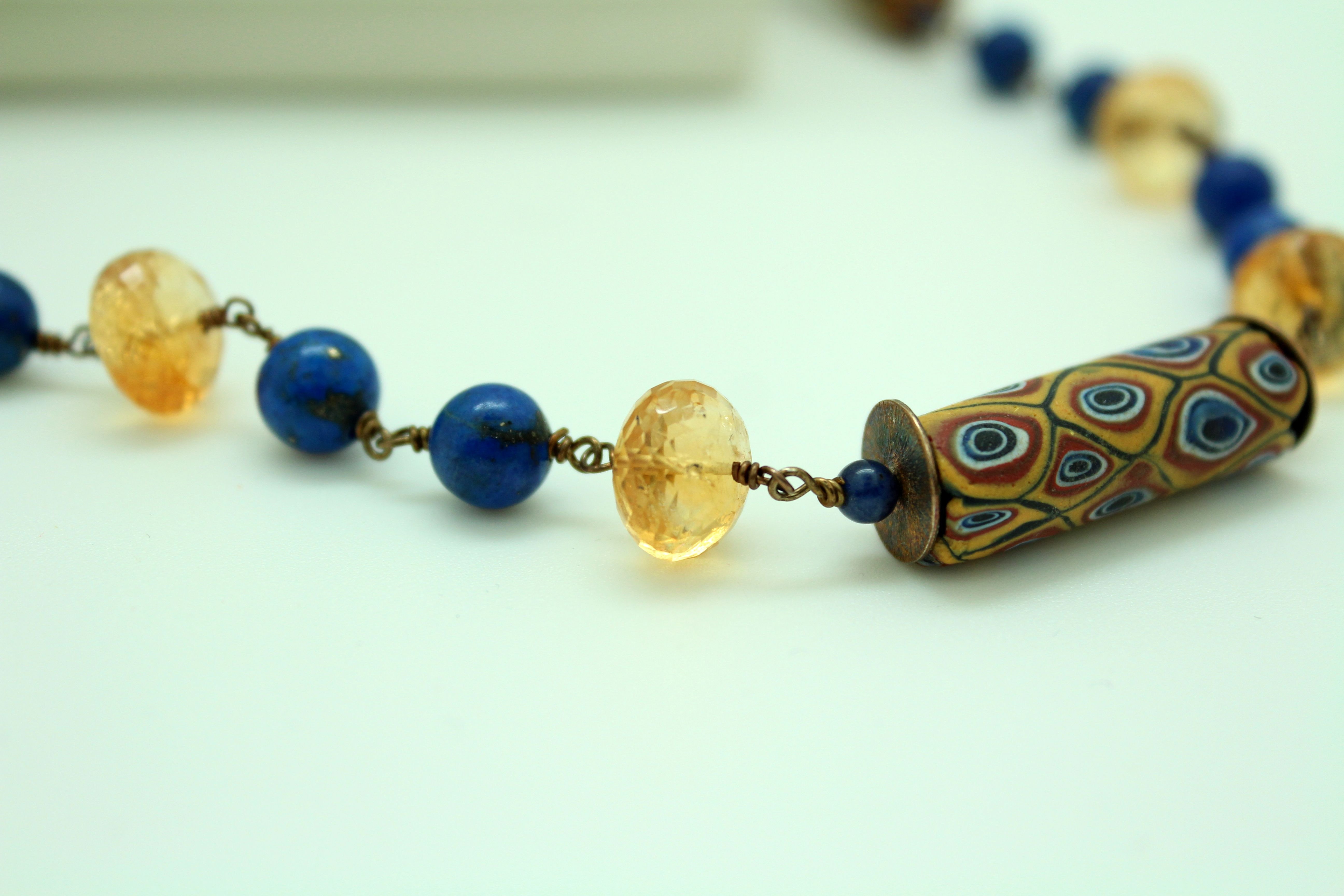 Murrinas - necklace - old murrinas - Venice murrinas - collier - short necklace - lapis lazuli necklace - glass necklace - quartz citrine https://www.etsy.com/listing/257735526/murrinas-necklace-old-murrinas-venice?ref=shop_home_active_11