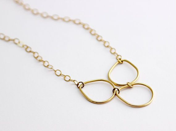 Golden drops contours necklace  with three ways to by InbalDesigns, $66.00