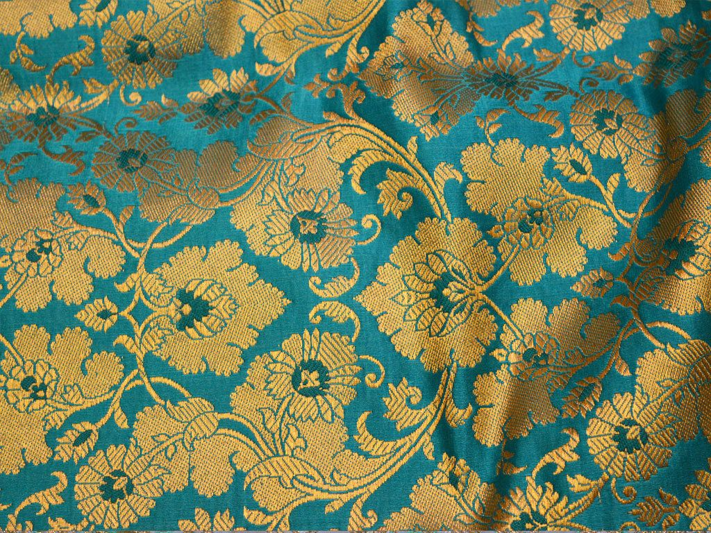 Indian Banarasi Turquoise Blue Brocade Fabric by the yard, wedding Dress Fabric, costume fabric, jacquard fabric