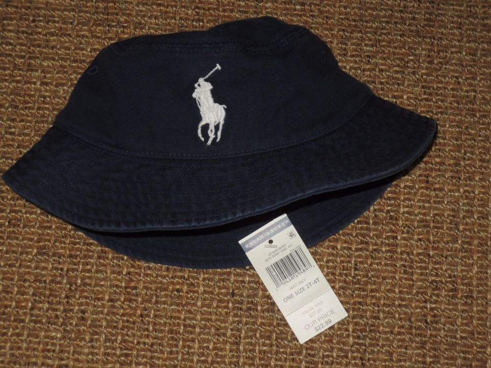2e076b202 POLO RALPH LAUREN BOY'S BUCKET HAT BIG PONY 2 - 4 YEARS NAVY BLUE ...
