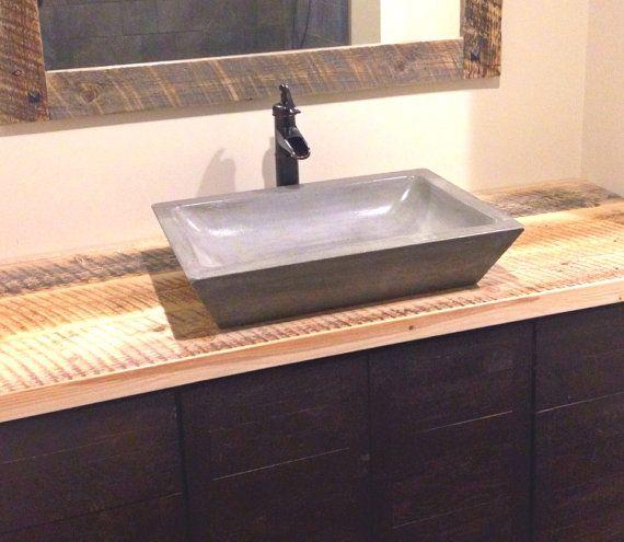 """Bathroom Vanities 24 X 16 concrete rectangle bowl vessel bathroom sink 16"""" x 24"""" depth of"""