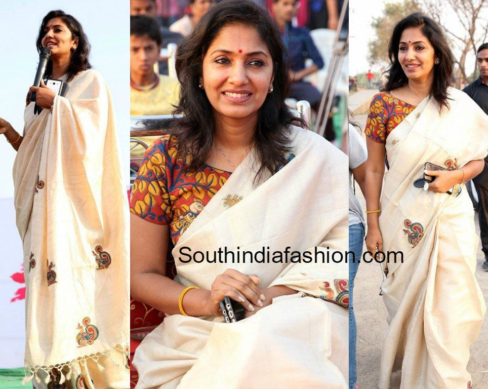 271f2b51dbbc5 Jhansi in a white saree and Kalamkari blouse