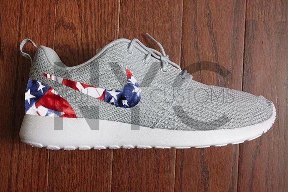 Nike Roshe Run Grey White One Nation American Flag Custom