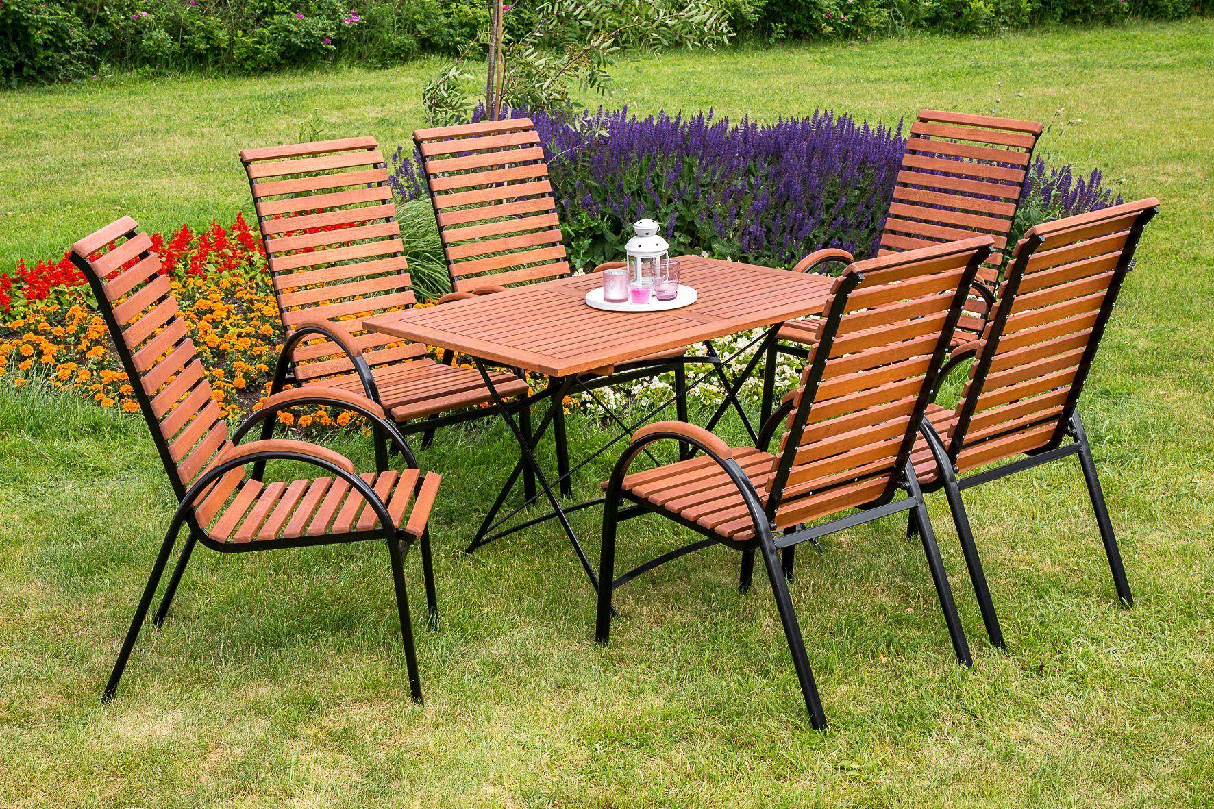 Merxx Gartenmobelset Schlossgarten 7tlg 6 Sessel Tisch Stapelbar Klappbar Eukalyptus Jetzt Bestellen Unter H Gartenmobel Sets Gartenmobel Gartenstuhle