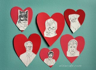 I want to make these cute valentines and frame them to put on the food tables and whatnot, then when it's all over we can hang them in our house DIY celebrity valentines via abeautifulmess.typepad.com